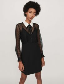Contrast-Collar Guipure And Crepe Dress by Maje at Maje