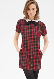 Contrast Collar Plaid Shift Dress x at Forever 21