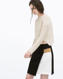 Contrast Detail Wrap Skirt at Zara