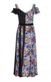 Contrast Floral Silk Midi Dress by Prabal Gurung at Moda Operandi