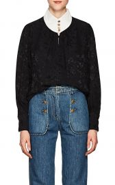 Contrast-Neck Floral Silk Jacquard Blouse Maison Mayle at Barneys