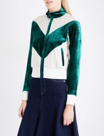 Contrast-Panel Silk-Georgette and Velour Jacket by Mo Co at Selfridges