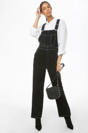 Contrast-Stitch Denim Overalls at Forever 21