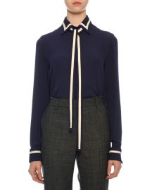 Contrast-Striped Georgette Button-Front Blouse with Neck Tie at Bergdorf Goodman