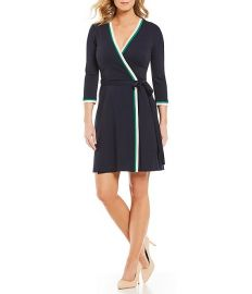 Contrast Trim Surplice V-Neck Wrap Dress by Eliza J at Dillards