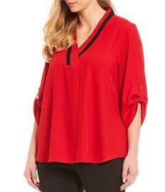 Contrast V-Neck Roll-Tab Sleeve Top by Calvin Klein at Dillards