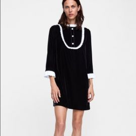Contrast Velvet Dress at Zara