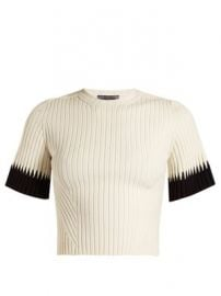 Contrast-cuff ribbed cropped top at Matches