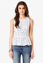Contrast lace peplum top at Forever 21