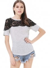 Contrast lace tee at She Inside