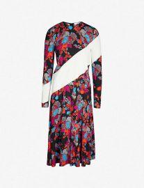 Contrast-panel floral-print flared crepe dress at Selfridges