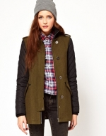Contrast sleeve coat from ASOS at Asos