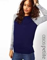 Contrast sleeve sweater in navy blue at Asos