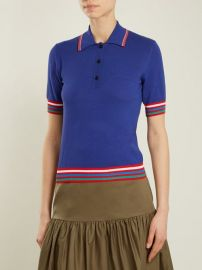 Contrast-striped knit polo shirt at Matches
