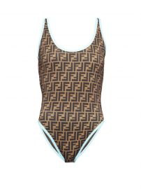 Contrast-trim FF-logo swimsuit at Matches
