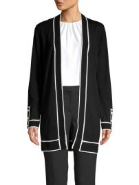 Contrasting Piped Cardigan by Calvin Klein at Lord & Taylor