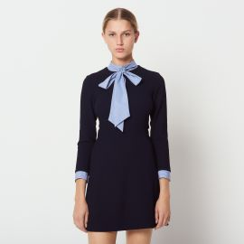 Contrasting Tie-neck Collar dress by Sandro at Sandro