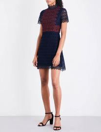 Contrasting panel lace dress at Selfridges