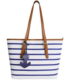 Coofit Stripes Summer Purse Tote Shoulder bag Womens Handbag PU Leather Purse with Sea Anchor Pendant at Amazon