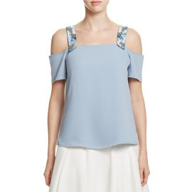 Cooper  amp  Ella Women s Beaded Sandra Sold Shoulder Top at Amazon