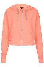 Coral cropped hoodie at Topshop