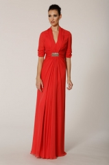 Coral gown at Melinda Eng