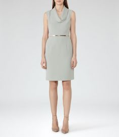 Coraline Cowl Neck Dress Fern at Reiss
