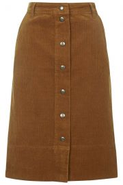 Cord button front midi skirt at Topshop