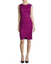 Corded Floral Lace Sheath Dress at Neiman Marcus