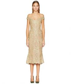 Corded Lace Off Shoulder Cocktail Dress with 3D Sequin Roses by Marchesa at Zappos Luxury