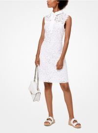 Corded Lace Tie-Neck Dress at Michael Kors