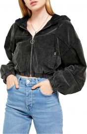 Corduroy Crop Hooded Jacket at Nordstrom