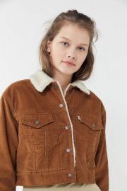 Corduroy Sherpa Cropped Trucker Jacket at Urban Outfitters