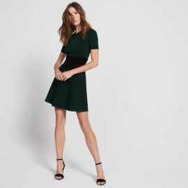 Corset-effect knit dress green at Sandro