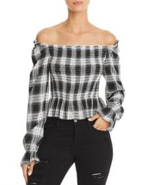 Cotton Candy LA Plaid Off-the-Shoulder Top Women - Bloomingdale s at Bloomingdales