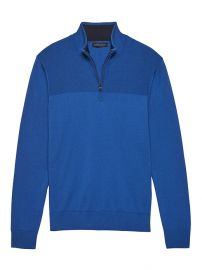 Cotton Cashmere Half-Zip Sweater at Banana Republic