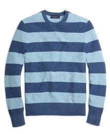 Cotton Cashmere Stripe Crewneck Sweater at Brooks Brothers