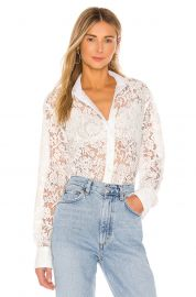 Cotton Lace Straight Shirt  at Revolve