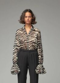 Cotton Zebra Ruffle Sleeve Blouse at Dries van Noten