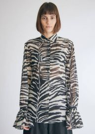 Cotton Zebra Ruffle Sleeve Blouse by Dries Van Noten at Totokaelo