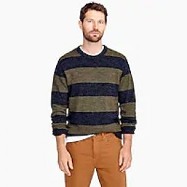 Cotton-wool crewneck sweater in stripe at J. Crew