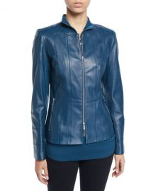 Courtney Lambskin Leather Jacket by Lafayette 148 at Berfdorf Goodman