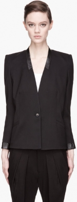 Cove leather trim blazer by Helmut Lang at SSENSE