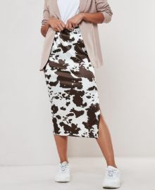 Cow Print Satin Slip Skirt by Missguided at Missguided