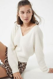 Cozy Chenille V-Neck Sweater by Urban Outfitters at Urban Outfitters