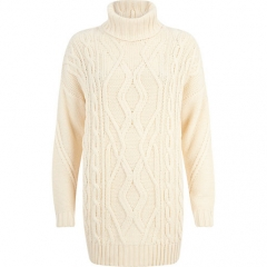 Cream roll neck sweater at River Island