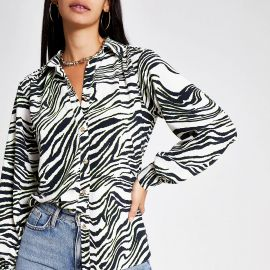 Cream zebra print utility shirt at River Island