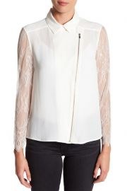 Crepe & Lace Zip-Up Dull Matte Top at Nordstrom Rack