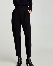 Crepe Trousers with Belt at Zara