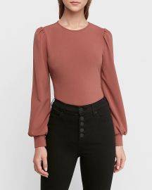 Crew Neck Puff Sleeve Top by Express at Express